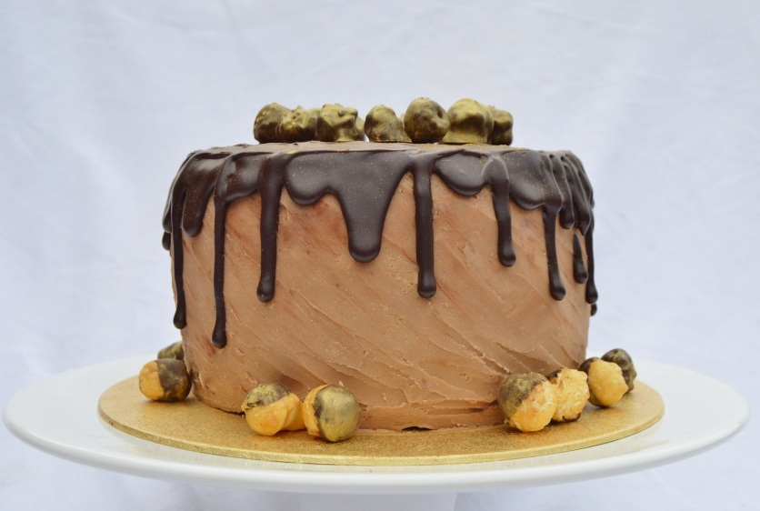 Chocolate drip cake: chocolate & salted caramel ganache with salted chocolate popcorn