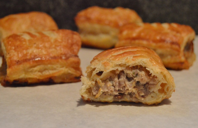 sausage rolls: packed with flavour in a buttery & very flaky pastry