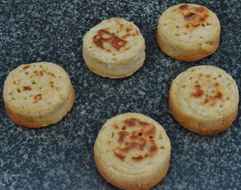 cheese & onion sourdough crumpets: ready for toasting!