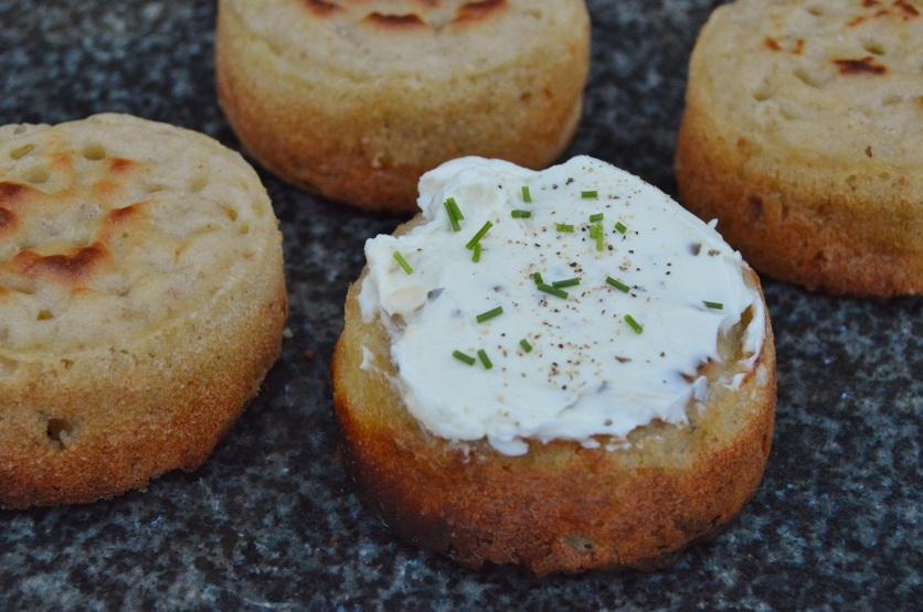 cheese & onion sourdough crumpets