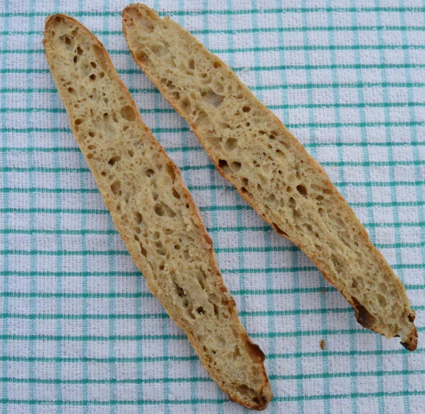 baguettes: split lengthways to see the interior structure