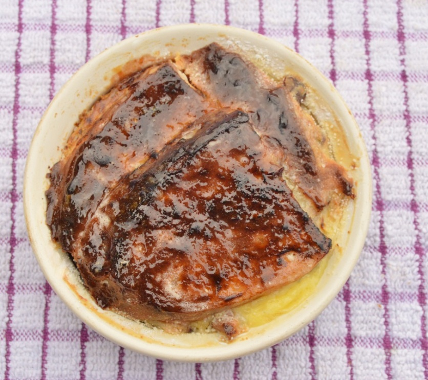 individual portions: dusted with icing sugar and under the grill to caramelise