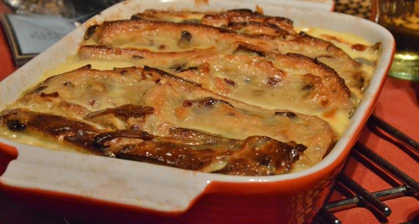 brioche pudding in a lemongrass custard