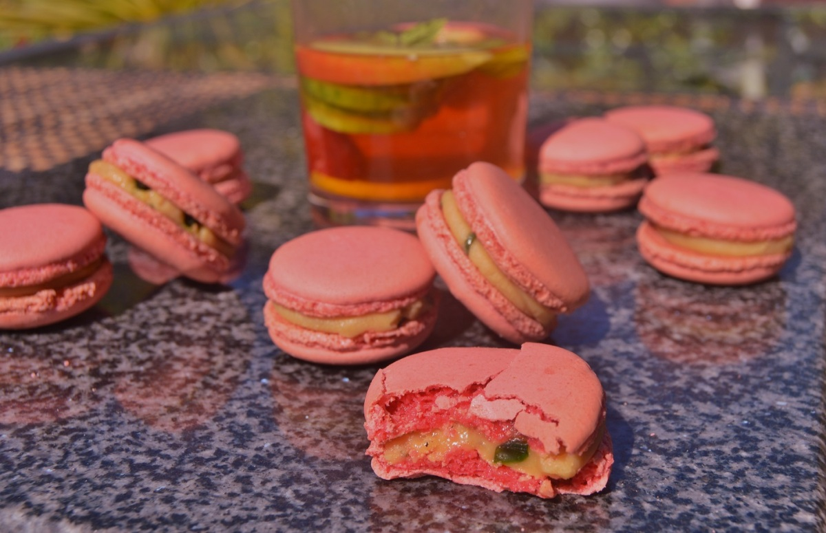 Pimms macarons with Pimms ganache & minted cucumber jelly