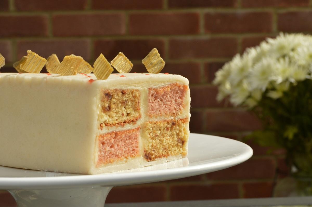 Rhubarb & ginger Battenbergcake