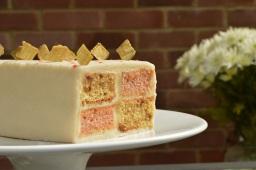 Rhubarb & ginger Battenberg cake