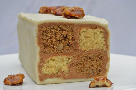 Salted mocha & walnut battenberg cake