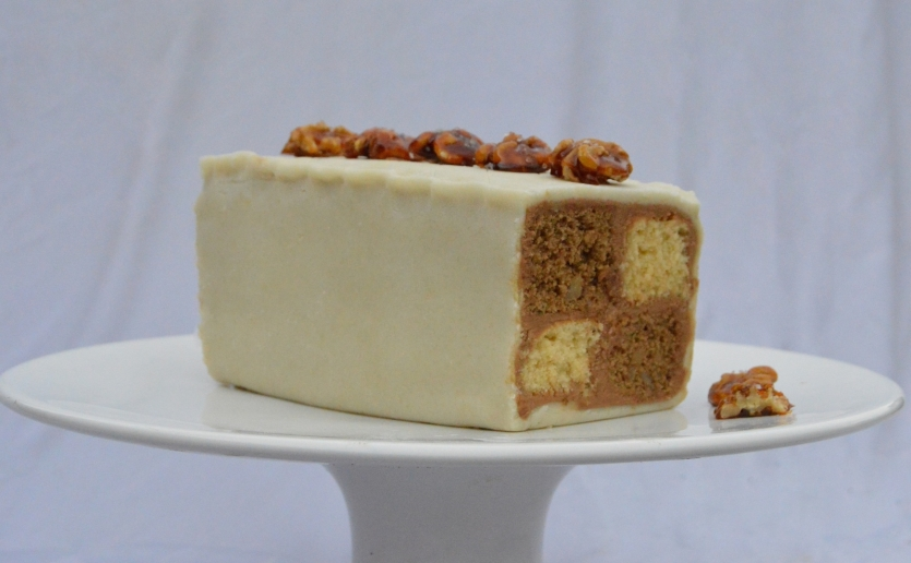 Salted mocha & walnut battenberg cake