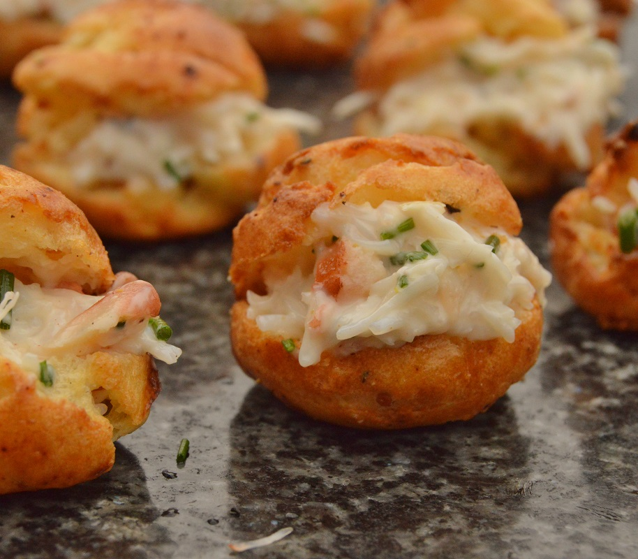 Warm crab choux bites baking fanatic for Pastry canape fillings