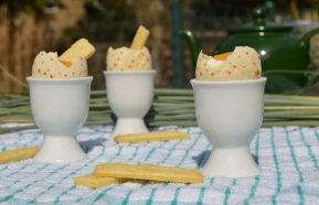 "Mango and lime ""egg cup"" desserts"