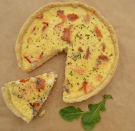 Hot-smoked salmon & horseradish tart