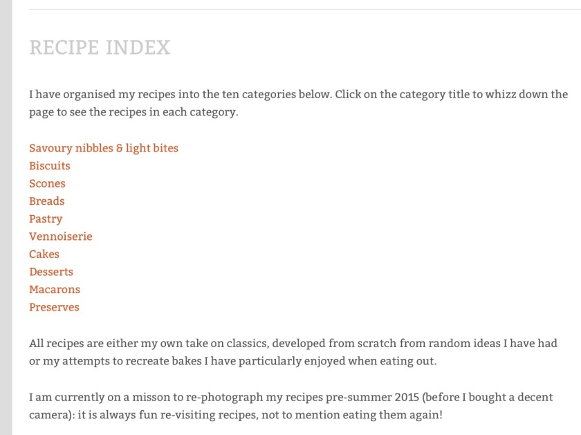 Recipe index creation