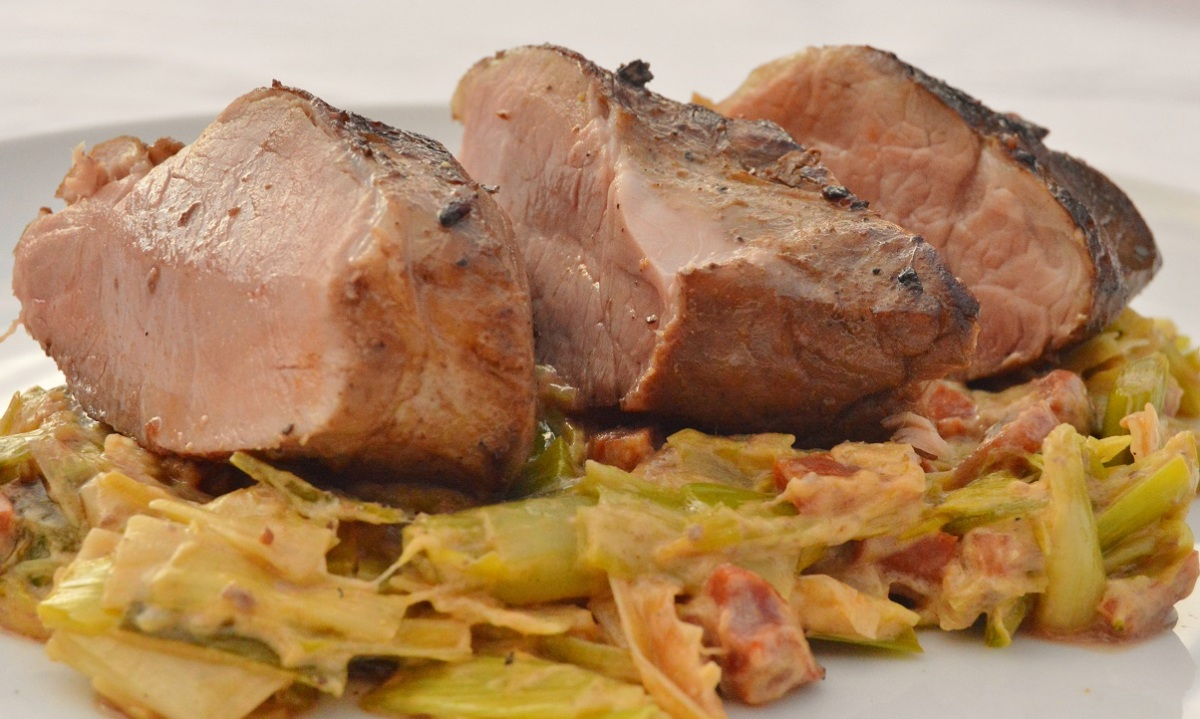 Sous-vide pork tenderloin on a bed of creamed leeks & chorizo