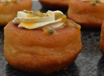 Rum babas: flecks of vanilla from the syrup showing