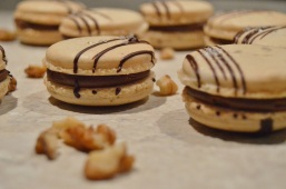 salted caramel & dark chocolate macarons