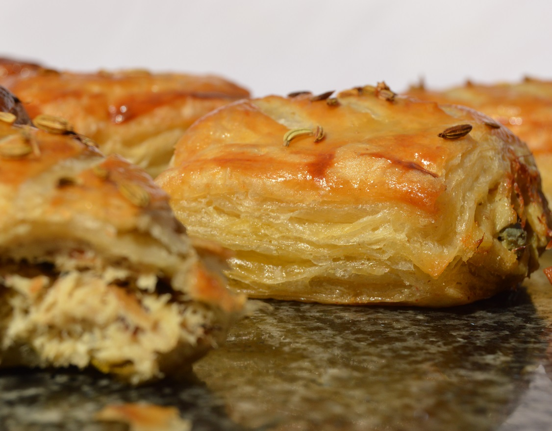 Smoked mackerel pastry rolls