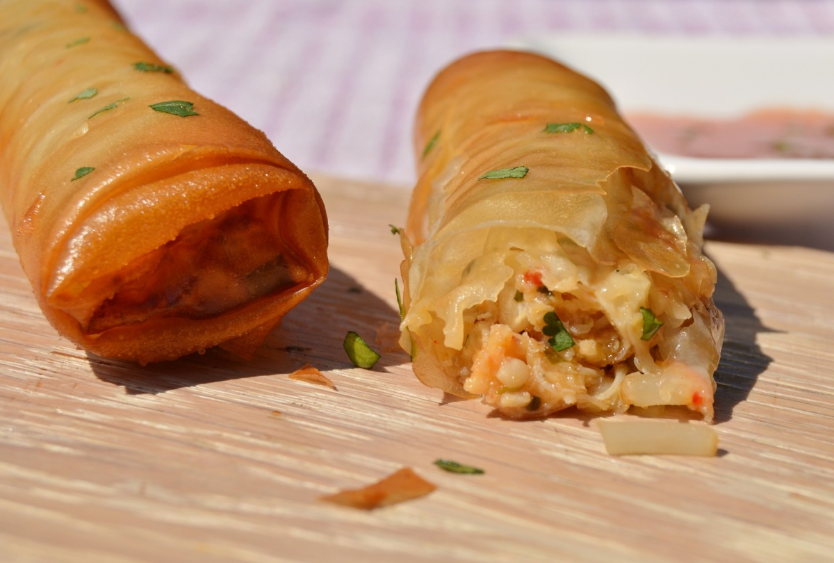 Spiced prawn and crab spring rolls