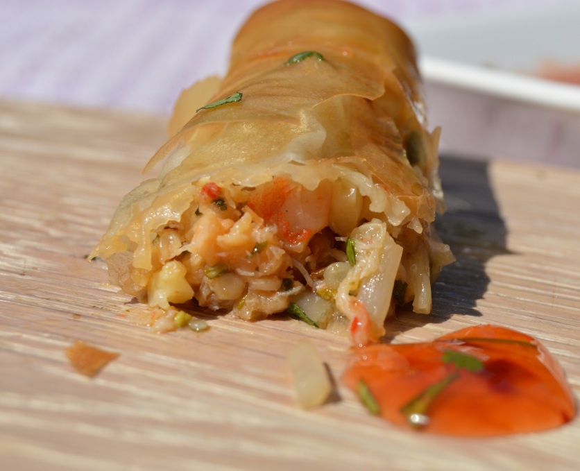 Spiced prawn and crab rolls