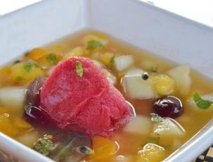 minted fruit salad & raspberry sorbet
