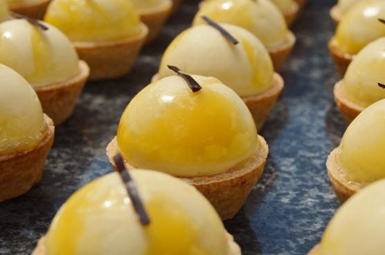 lower-fat passion fruit & peach tarts
