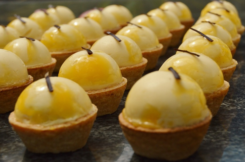 passion fruit & peach tarts