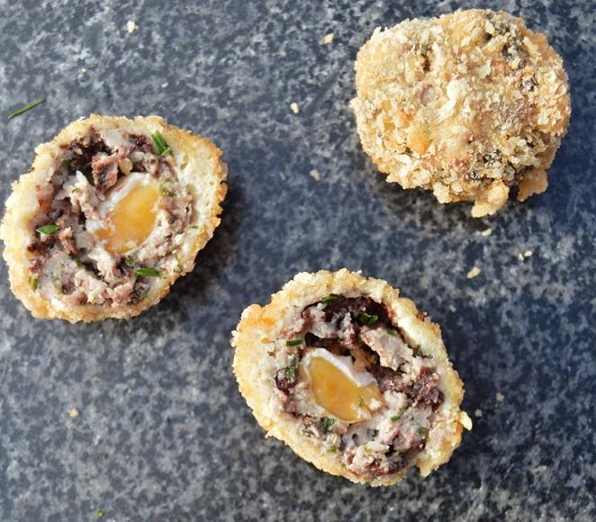 quail scotch eggs with black pudding