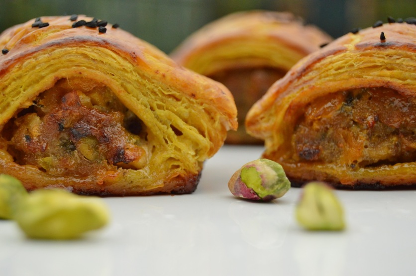 Spiced lamb in a turmeric and curry powder rough-puff pastry