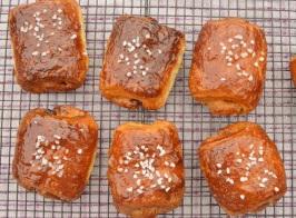 Bitter orange pains au chocolat: freshly baked and glazed