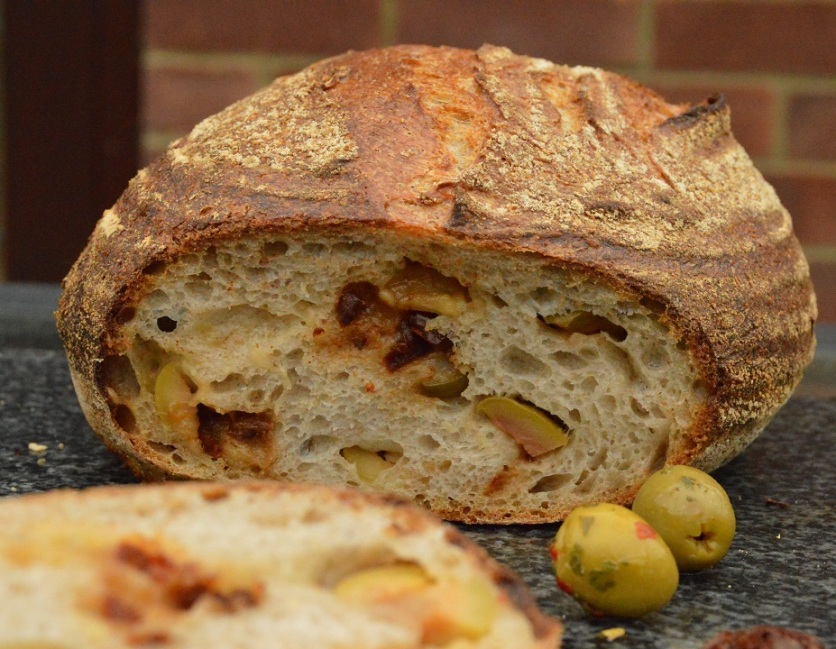 Olive, cheese & sun-dried tomato sourdough