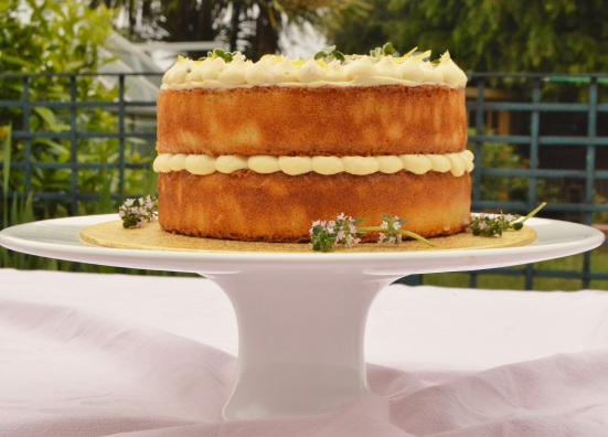 Lemon & thyme drizzle layer cake