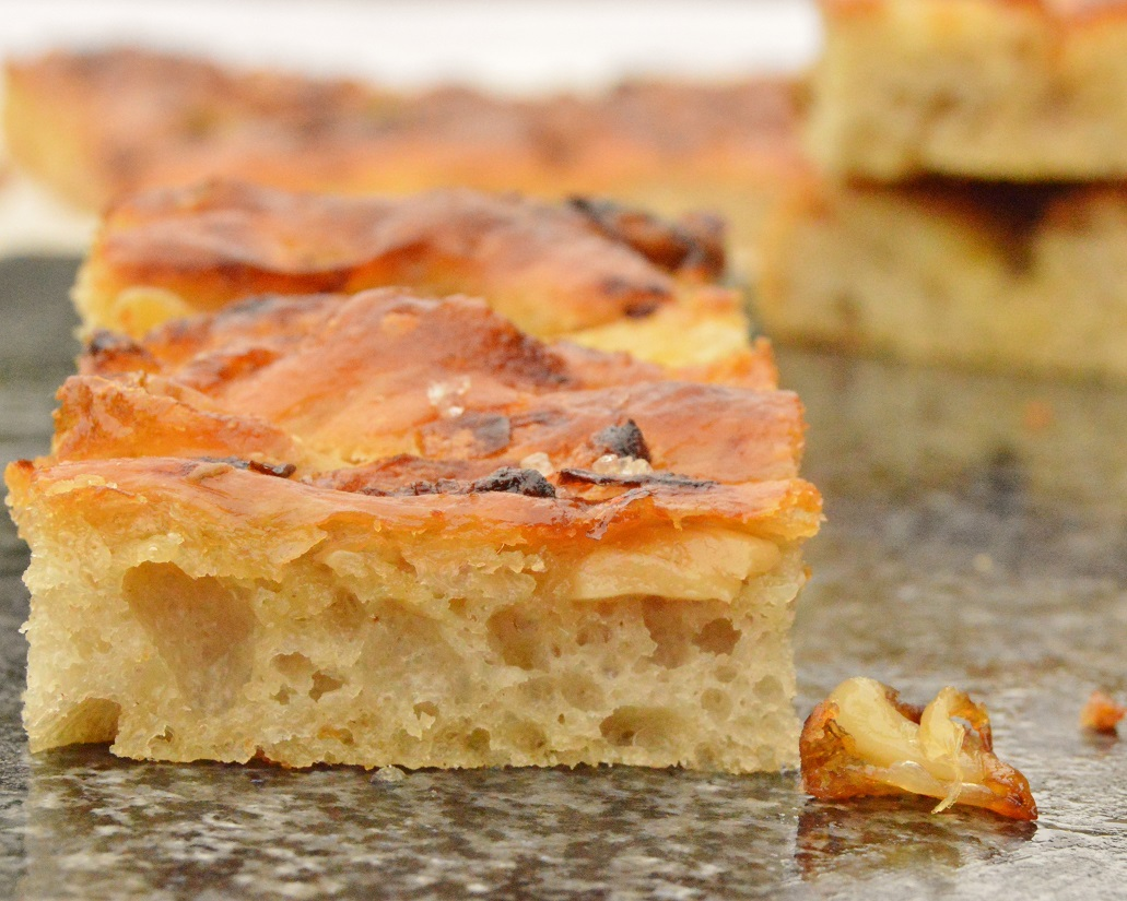 Fool-proof anchovy, onion & garlic focaccia