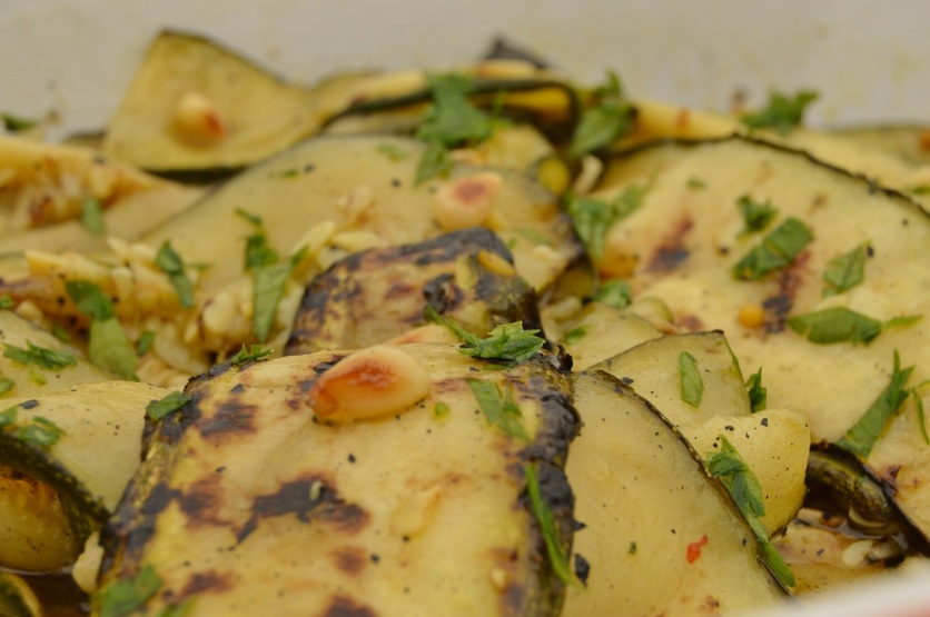 char-grilled courgette salad
