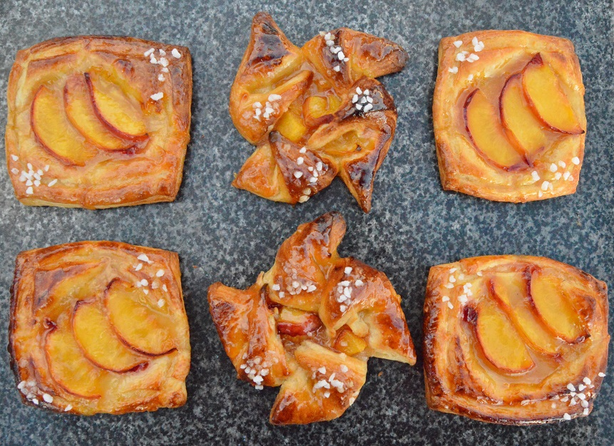 Quick and very easy peach Danish pastries