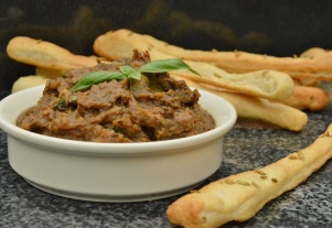 Fennel breadsticks with baba ghanoush