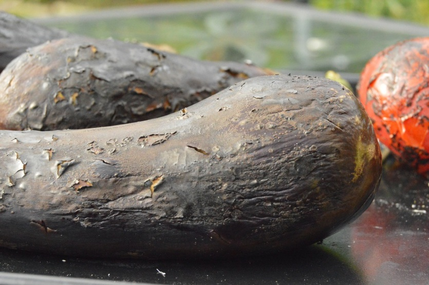 blowtorched aubergines: they will peel very easily