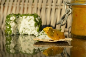 a home-made trio: flatbreads, goats' cheese & piccalilli