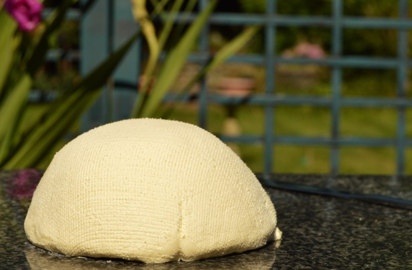 home-made Mascarpone cheese: I love the pattern on it from the muslin