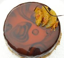 Spiced orange & rum cake with mirror glaze