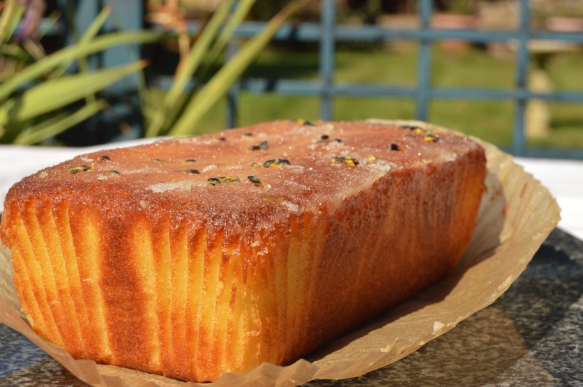 Lime & passion fruit drizzle cake