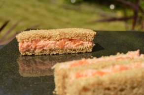 Salmon sandwiches with shrimp & caper butter