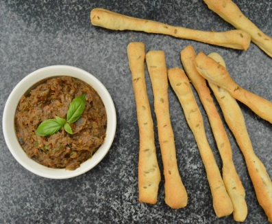 baba ghanoush with fennel breadsticks