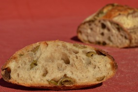 Green olive and rye sourdough