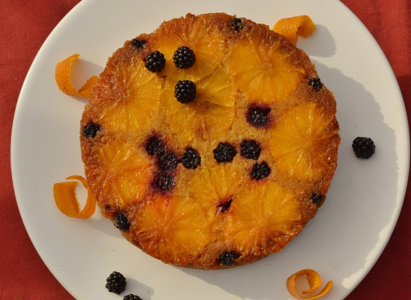 Orange and blackberry polenta cake