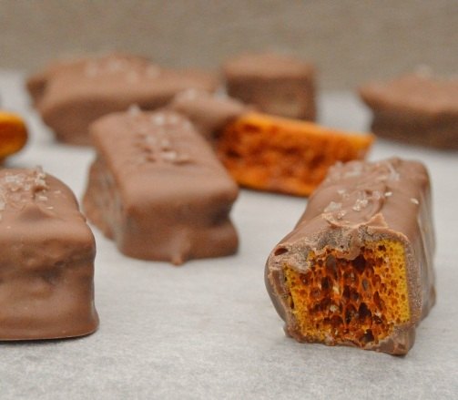 Chocolate-coated smoked salted honeycomb