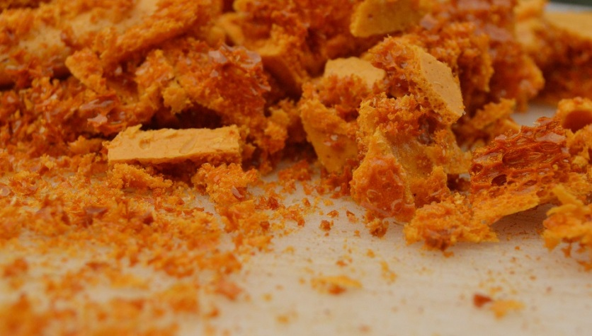 chunks and shards of smoked salted honeycomb