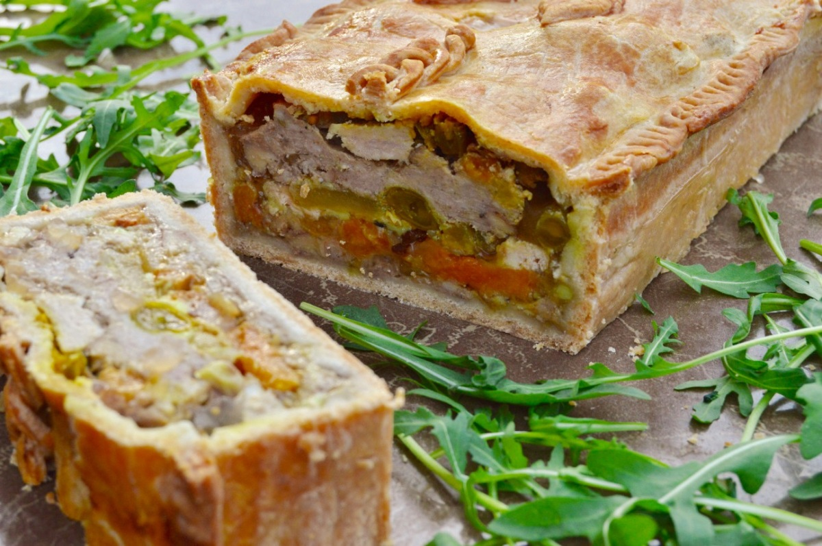 Pork, apple & apricot pie: a left-overs feast!