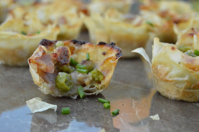 Pea, ham and mustard filo bites