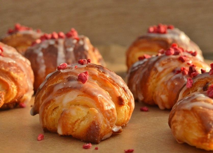 glazed lemon & raspberry croissants