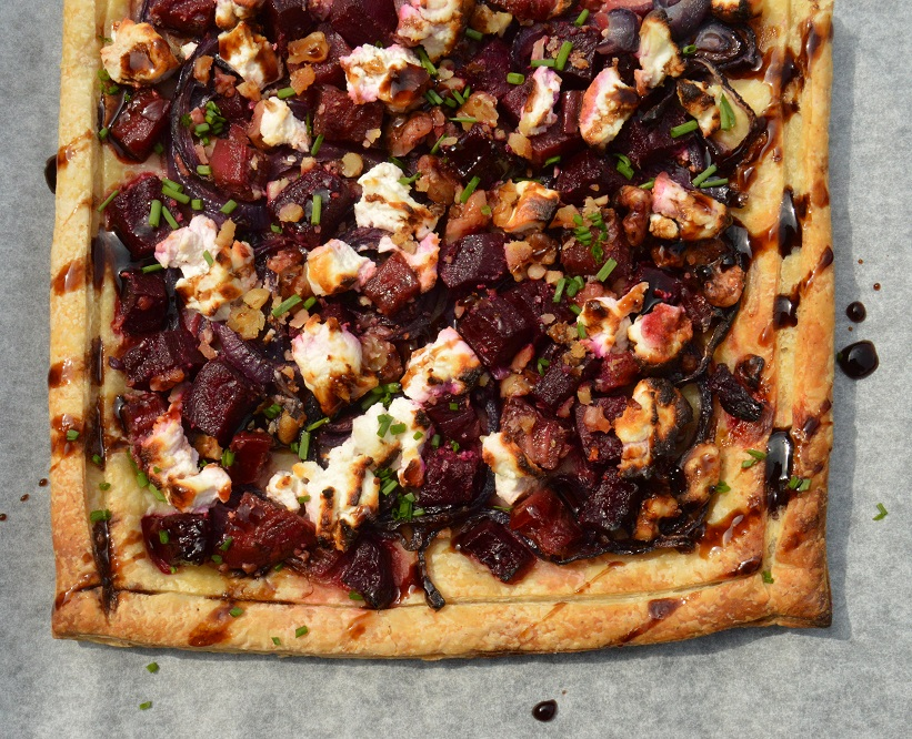 beetroot, walnut & goats' cheese tart