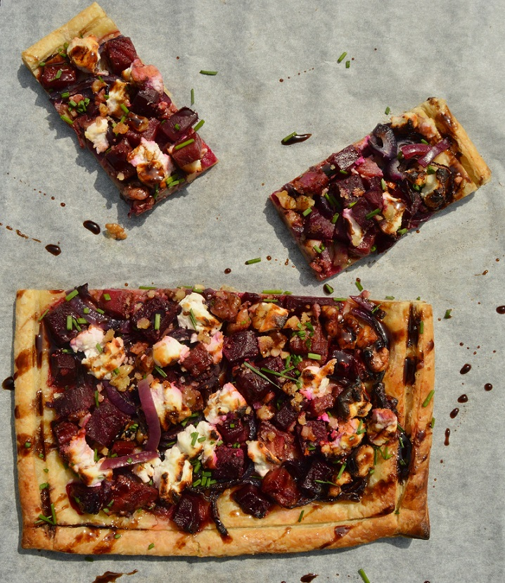 Easy beetroot, goats' cheese & walnut tart